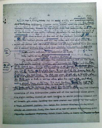 george orwell s manuscript for  1984 manuscript page one
